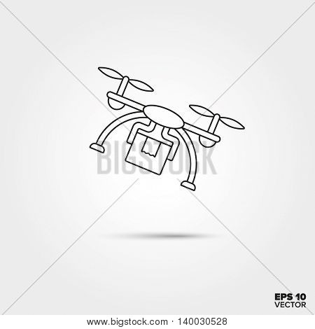 Flying parcel delivery drone Line Icon Vector