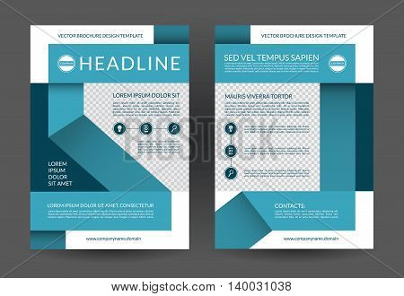 Blue annual report brochure flyer layout template. A4 size. Front and back page. Can be used for handbill, booklet, catalog, presentation, book cover, leaflet. Vector background