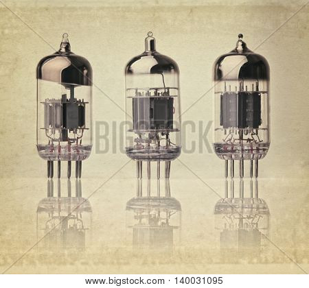 Electronic vacuum tube vintage background