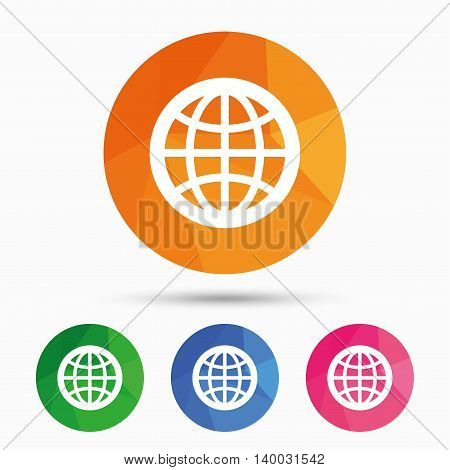 Globe sign icon. World symbol. Triangular low poly button with flat icon. Vector