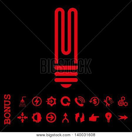 Fluorescent Bulb vector icon. Image style is a flat pictogram symbol, red color, black background.