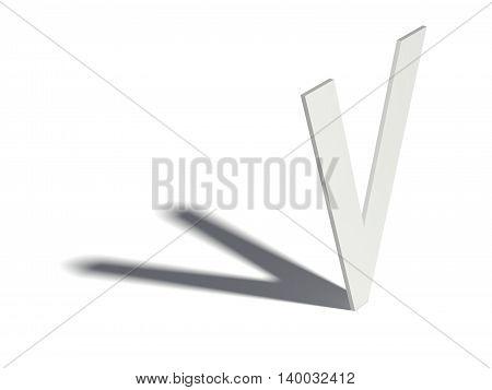 Drop Shadow Font. Letter V. 3D