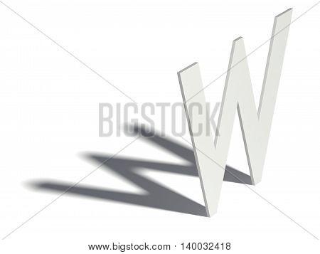 Drop Shadow Font. Letter W. 3D