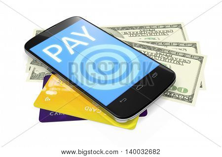 3d rendering of a smartphone, dollar notes and credit cards for mobile payment