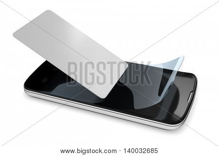 3d rendering of preparing a smartphone with a protection film
