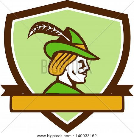 Illustration of a Robin Hood wearing medieval hat with a pointed brim and feather viewed from side set inside shield crest with ribbonon isolated background done in retro style.