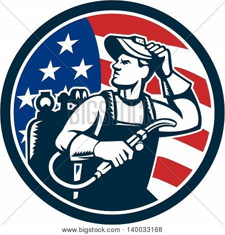 Illustration of a welder rod-holder with cable and electrode for electric arc welding and welder visor mask looking to the side with usa american stars and stripes flag in the background set inside circle done in retro style.
