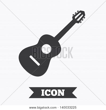 Acoustic guitar sign icon. Music symbol. Graphic design element. Flat guitar symbol on white background. Vector