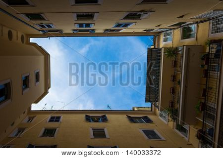 Looking Up Sky Italian Courtyard Rome Windows