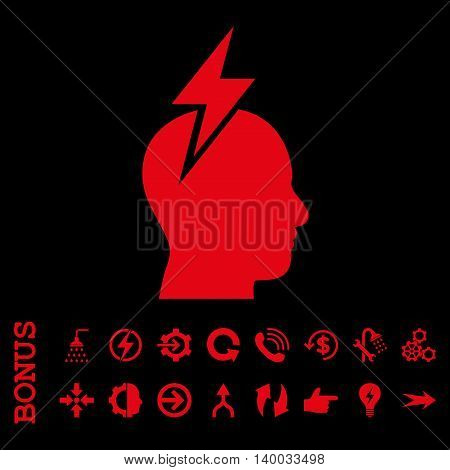 Headache vector icon. Image style is a flat pictogram symbol, red color, black background.