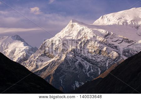 Beautiful sunrise mountain landscape, Annapurna Range in Himalayas, Nepal.