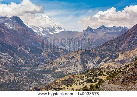 Beautiful mountain landscape near Ngawal village in Himalayas, Nepal