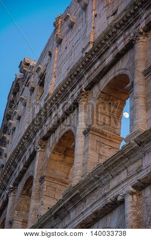 Moon Arches Dusk Rome Colosseum Italy Monument Detail