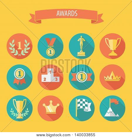 set of vector award success and victory flat icons on colorful round web buttons with trophies cups ribbons crown diadem medals medallions wreath and a podium