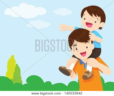 Cartoon vector illustration Cute little boy sitting on his father's shoulder looking at sky.