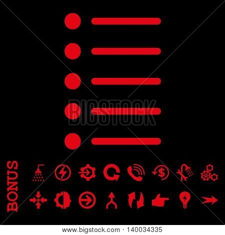 Items vector icon. Image style is a flat iconic symbol, red color, black background.