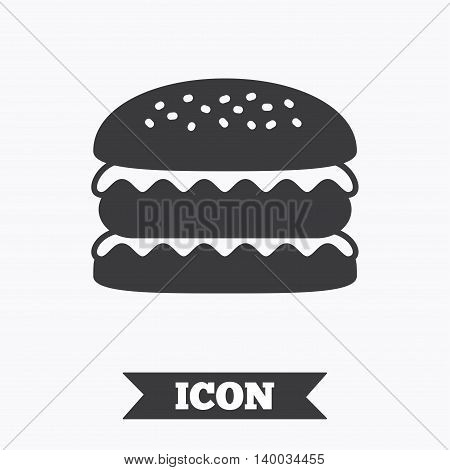 Hamburger icon. Burger food symbol. Cheeseburger sandwich sign. Graphic design element. Flat sandwich symbol on white background. Vector