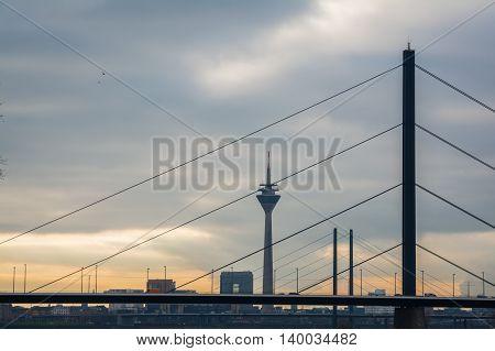 Sun Behind Clouds Overcast Düsseldorf TV Tower Bridges Stadttor Landscape Cityscape