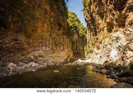 Mountain River Gorge Near Panta Vrexei In Evritania, Greece