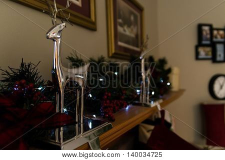 Chrome Reindeer Christmas Decoration Indoor Stockings Holiday