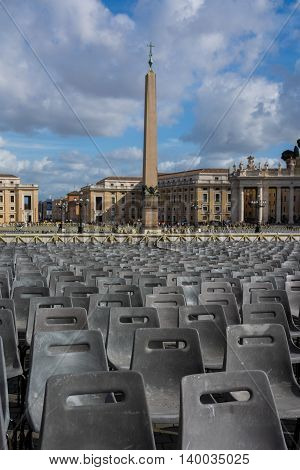 Vatican Obelisk Crowd Chairs Cityscape Rome Italy
