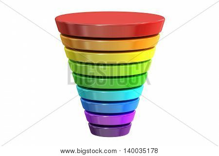 business logotype with color levels chart. 3D rendering isolated on white background