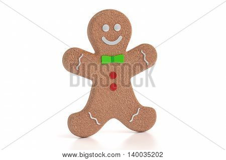 Gingerbread man 3D rendering isolated on white background
