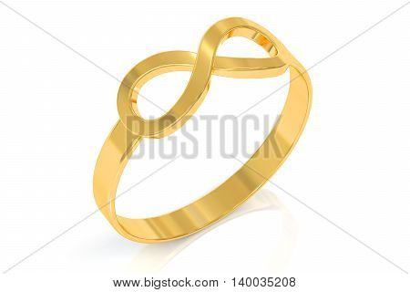 infinity ring 3D rendering isolated on white background