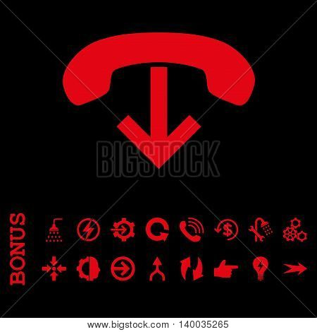 Phone Hang Up vector icon. Image style is a flat pictogram symbol, red color, black background.