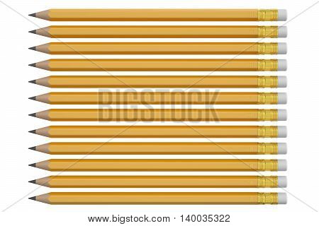set of graphite pencils from hardest to softest 3D rendering isolated on white background