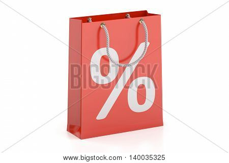 Shopping bag sale and discount concept. 3D rendering isolated on white background