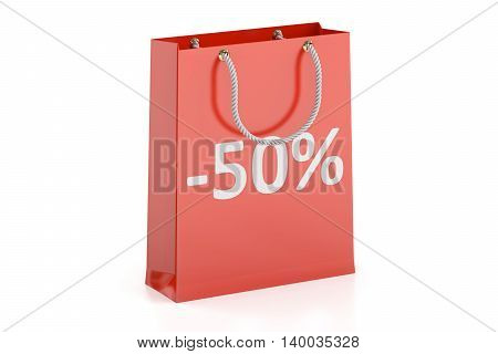 Shopping bag sale and discount concept -50%. 3D rendering isolated on white background