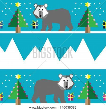 Seamless pattern with two shades polar bears, snow, geometrical Christmas trees with lights and baubles Christmas gifts in two shades, and mountains on light blue background