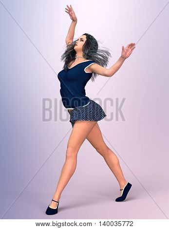 Dancing young europeans girl in thin summer skirt billowing. Romantic Pose. Muse. Studio photography. Photorealistic 3D illustration.