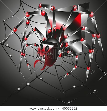 The spider in the web of  style techno  vector  illustration Image bright big spider web on a black background