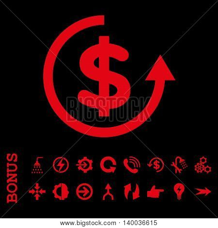Refund vector icon. Image style is a flat iconic symbol, red color, black background.