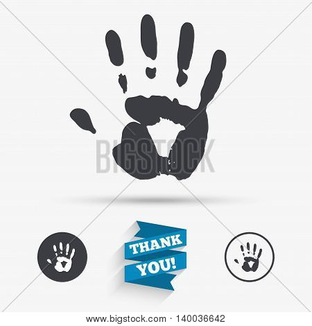 Hand print sign icon. Stop symbol. Flat icons. Buttons with icons. Thank you ribbon. Vector