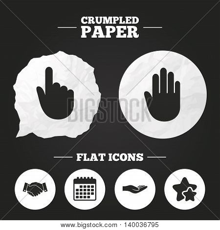 Crumpled paper speech bubble. Hand icons. Handshake successful business symbol. Click here press sign. Human helping donation hand. Paper button. Vector
