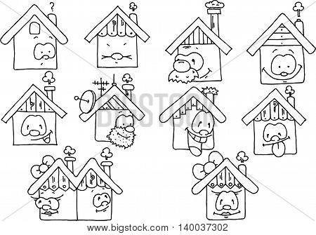 Funny houses with faces black and white drawing.