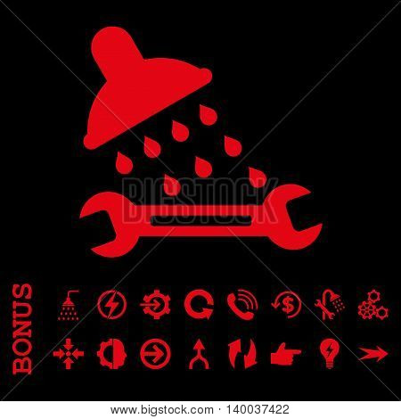 Shower Plumbing vector icon. Image style is a flat pictogram symbol, red color, black background.