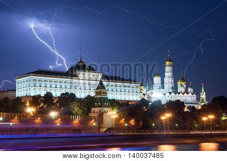 Real Lightning Over The Moscow Kremlin