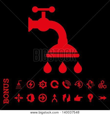 Shower Tap vector icon. Image style is a flat pictogram symbol, red color, black background.