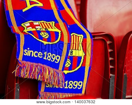 BARCELONA,SPAIN-MARCH 2015: FC Barcelona fan's scarf at the seat on Camp Nou stadium