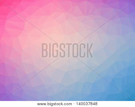 Abstract pink blue gradient low polygon shaped background.