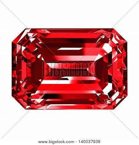 Ruby Emerald Over White Background. 3D Illustration.