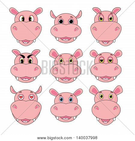 Hippo Set Of Heads With Different Emotions Isolated On White Background In Vector