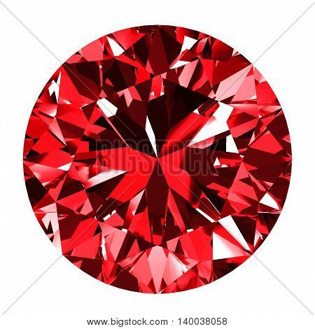 Ruby Round Over White Background. 3D Illustration.
