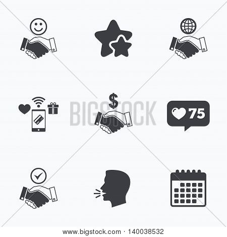 Handshake icons. World, Smile happy face and house building symbol. Dollar cash money. Amicable agreement. Flat talking head, calendar icons. Stars, like counter icons. Vector