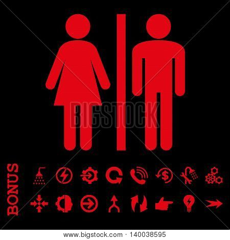 WC Persons vector icon. Image style is a flat pictogram symbol, red color, black background.