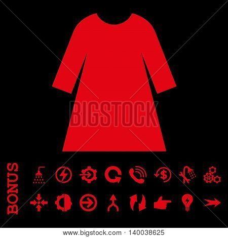 Woman Dress vector icon. Image style is a flat iconic symbol, red color, black background.